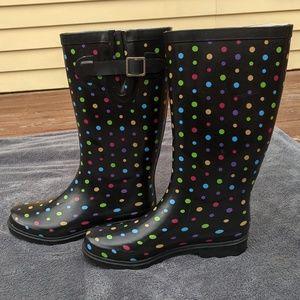 Merona Shoes - Merona polka dotted rain boots